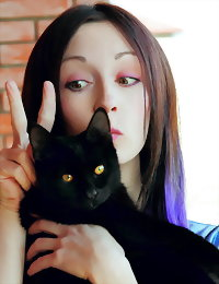 Cute cat lover brunette