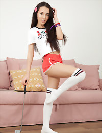 Playful teen on the couch