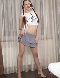 Cute girl in grey skirt young nidist