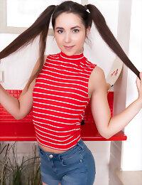Long haired girl posing