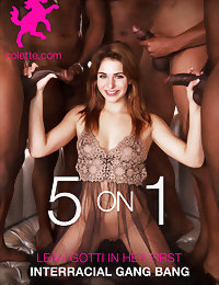 5 on 1  Leah Gotti in Her First Interracial Gang B